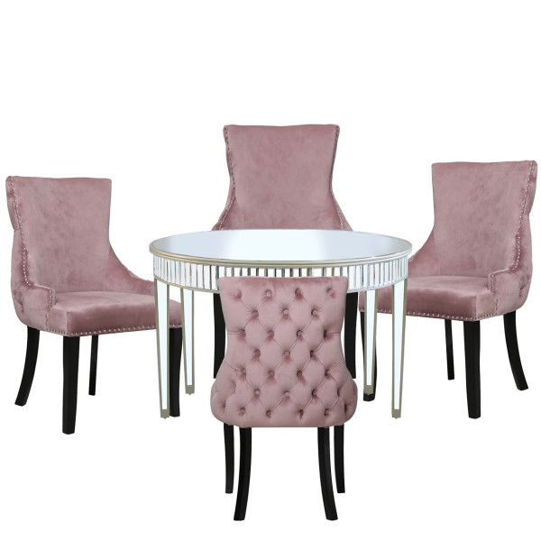 Chimes - Anne-Marie Champagne Mirrored 120cm Round Dining Set With 4 Tufted Back Pink Chairs
