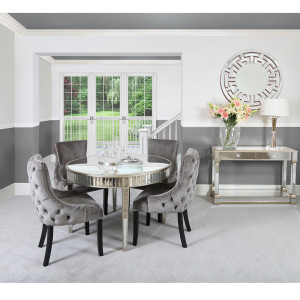 Chimes - Anne-Marie Champagne Mirrored 120cm Round Dining Set With 4 Tufted Back Grey Chairs