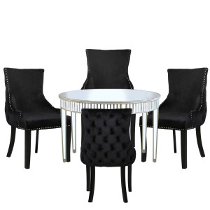 Chimes - Anne-Marie Champagne Mirrored 120cm Round Dining Set With 4 Tufted Back Black Chairs