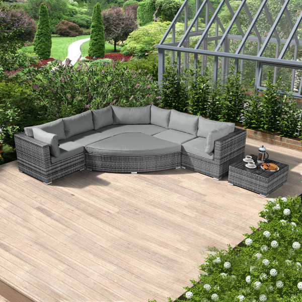 Chimes - Mixed Grey Hampton Deluxe Corner Sofa Set