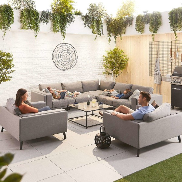 Infinity Outdoor Fabric Corner Sofa Set with 2 Armchairs - Flanelle