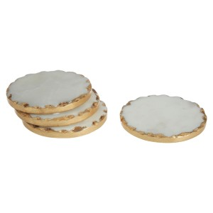 Chimes - Set Of 4 Round White Marble Coasters