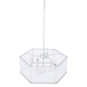 Chimes - Listra 6 Light Hexagonal Chrome Pendant Light