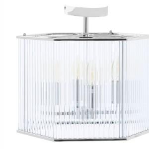 Chimes - Listra 4 Light Hexagonal Chrome Pendant Light