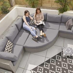 Nova - Heritage White Wash Deluxe Hampton 1A Rattan Corner Sofa Set