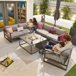 Nova - Nova Alessandria Aluminium Corner Sofa Set with Fire Pit & Armchair