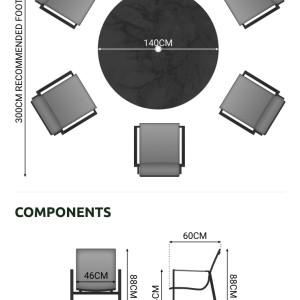 Nova - Milano 6 Seat Round Dining Set - Grey