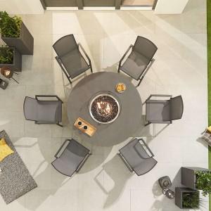 Nova - Milano 6 Seat Round Dining Set with Firepit - Grey