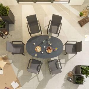 Nova - Roma 6 Seat Oval Dining Set - Grey