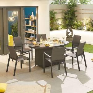 Nova - Roma 6 Seat Oval Dining Set with Firepit - Grey