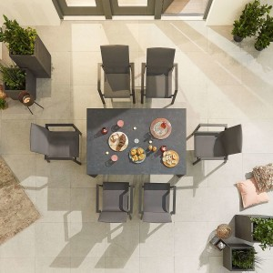 Nova - Roma 6 Seat Rectangular Dining Set - Grey