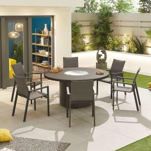 Nova - Roma 6 Seat Round Dining Set with Firepit - Grey