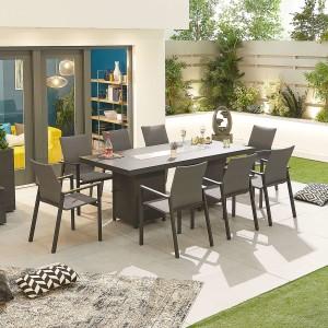 Nova - Roma 8 Rectangular Dining Set with Firepit - Grey