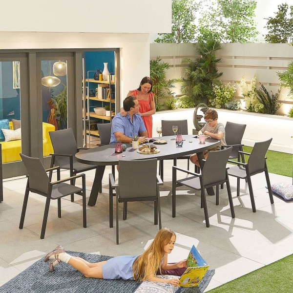 Nova - Roma 8 Seat Oval Dining Set - Grey