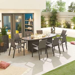 Nova - Roma 8 Seat Oval Dining Set with Firepit - Grey