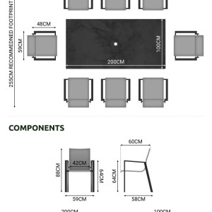 Nova - Roma 8 Seat Rectangular Dining Set - Grey