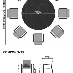 Nova - Roma 8 Seat Round Dining Set - Grey