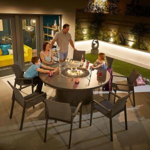 Nova - Roma 8 Seat Round Dining Set with Firepit - Grey